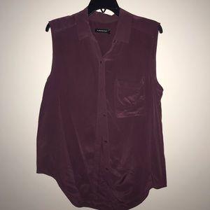 Sleeveless silk button down blouse
